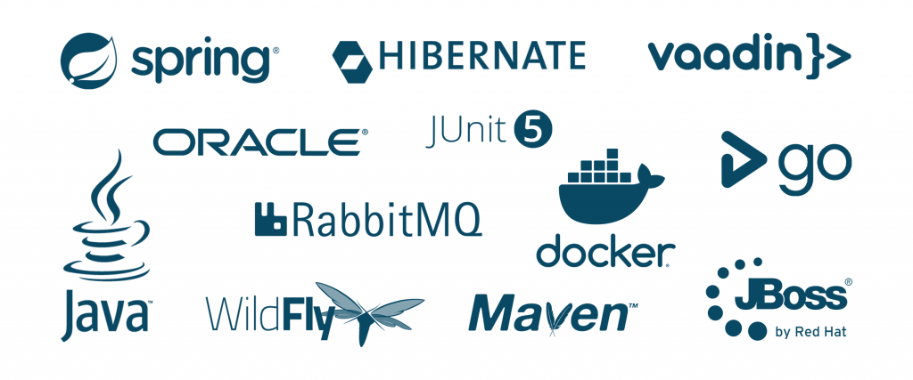 Java | Oracle | Hibernate | Vaadin | Spring | JUnit | GoCD | Docker | Maven | JBoss | WildFly | RabbitMQ